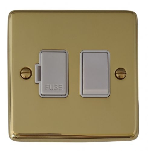 G&H CB57W Standard Plate Polished Brass 1 Gang Fused Spur 13A Switched